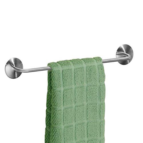 mDesign AFFIX Handtuchhalter ohne Bohren, silber - für die Küche - praktische, selbstklebende Handtuchstange - einfache Montage
