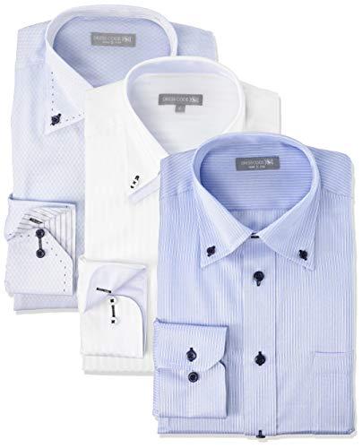 [ドレスコード101] 形態安定 ワイシャツ 長袖3枚セット 豊富なサイズでピッタリがみつかる デザイン ビジカジ おしゃれ カッターシャツ SHIRT-Z3SET メンズ 05 爽やかな印象を与える 首回り39cm裄丈82cm