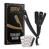 Straight Razor - Straight Edge Razor - Stainless Steel - Shavette - Barber Razor - Mens Shaving Knife - Straight Razor Kit - For Men and Women - Black