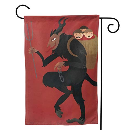 MINIOZE Merry Krampus Christmas Red Party Themed Flag Welcome Outdoor Outside Decorations Ornament Picks Garden Yard Decor Double Sided 12.5X 18 Flag