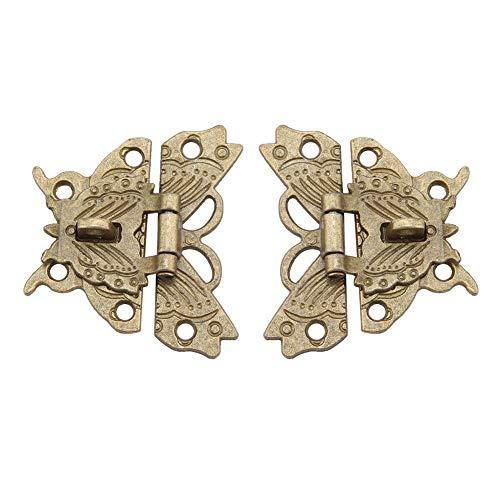 GOTOTOP 2 Stück Vintage Design Alu Riegel, Retro dekorative Kabinett Schmuckschatulle Antike Schnalle Schmetterlinge geformte Holzhülle Gravierte Hasp Riegel