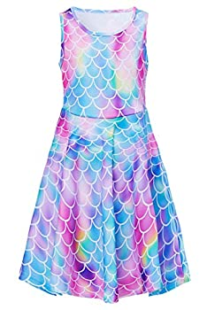 Girls Dresses Red Pink Mermaid Fairy Size 8t 9t Kawaii Sea Fish Zoo Floral Print Nice Ruffle Twirling Jumpers Overalls Dress Belle Princess Formal Maxi Midi Tshirt Skirt Daily Home Casual Partywear