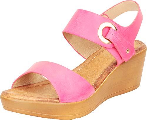 Cambridge Select Women's Open Toe Metallic Accent Low Mid Chunky Platform Wedge Sandal (7.5 B(M) US, Fuchsia)