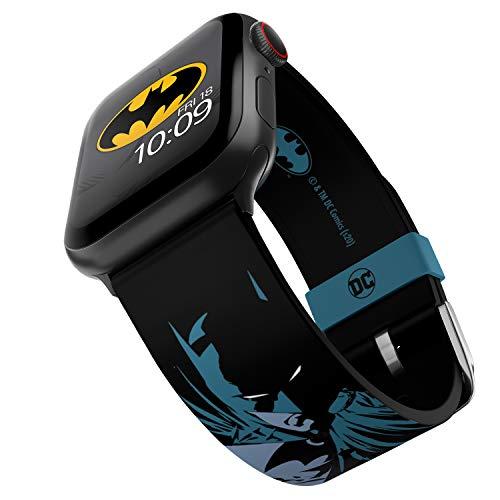 DC Comics Batman Modern Comic Edition Bracelet en silicone sous licence officielle Compatible avec Apple Watch 38 mm, 40 mm, 42 mm et 44 mm