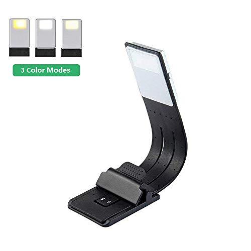 Luz de Lectura, OriFiil LED Lampara Lectura Libros, USB Recargable, 3 modos de color con brillo ajustable, Flexible Pinza para Lectores Noche, E-Reader, Estudio, Cama, Tablet
