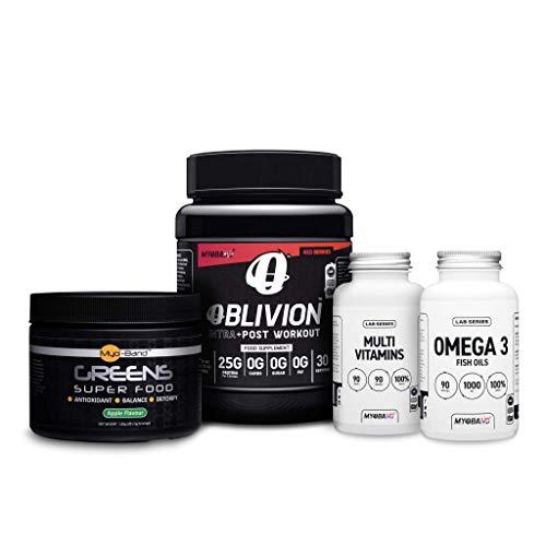 Myoband Wellbeing Pack Including Oblivion, Greens Super Food, Multivtamins & Omega 3 (Red Berries)