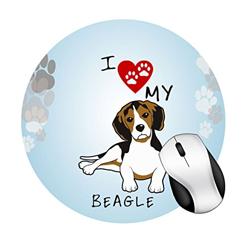 BRGiftShop I Love My Beagle Dog Lover Round Mouse Pad