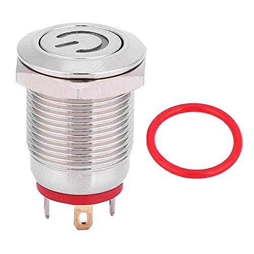 Interruptor de botón, reinicio automático, anillo de interruptor de botón metálico de 12 mm sin bloqueo e interruptor rojo de reinicio automático LED en forma de energía(5V)