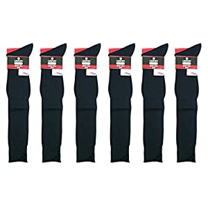 LEGENDY メンズ リブ 編み ロングホーズ ソックス 6足セット (紳士 ハイソックス) 26-28cm ネイビー