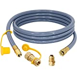 SUMNEW 12 Feet 1/2 inch ID Natural Gas Hose, Quick Connect/Disconnect Fittings with 3/8' Female by 1/2' Male Adapter for Grill, Patio Heater, Generator, Pizza Oven, etc - CSA Certified
