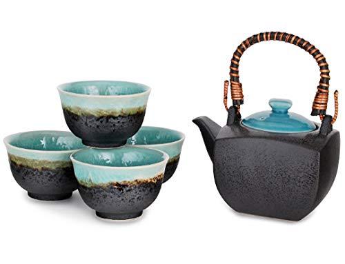 Happy Sales HSTS-TRQBLU, Japanese Porcelain Tea Set 20 fl oz Teapot with Handle and 4 Tea Cups 6 fl oz Each, Turquoise Ocean Blue
