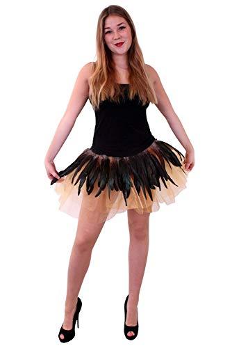 shoperama Pettcoat mit Federn Eule Gold Braun Kostüm-Zubehör Tüllrock Accessoire Rock Tutu Kostümzubehör Verkleidung Vogel