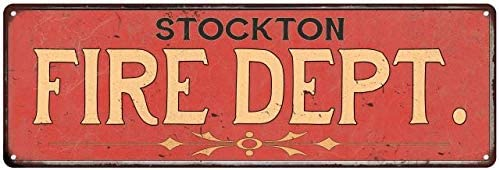 Stockton FIRE Challenge the lowest price of Japan ☆ DEPT. Sign Rustic Department Decor Fire Wall Signs Max 83% OFF