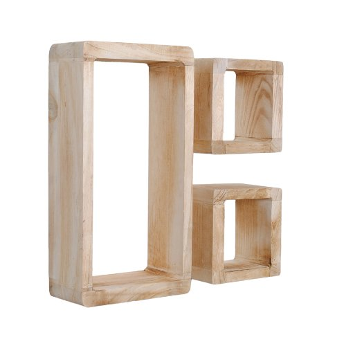 ts-ideen 3er Set Lounge Cube Regal Retro Shabby Look Hängeregal Massivholz Hellbraun