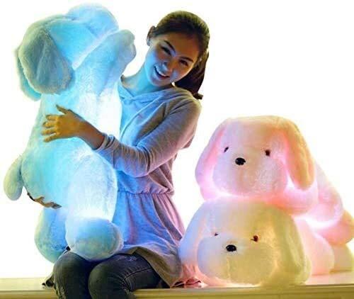OELPAN Spielzeug 1 stück 50 cm kreative hell up led Teddy Dog Teddy Tiere leuchtende Teddy Hosen Bunte helle Kissen Kinder (Farbe: pink, höhe: 35cm) (Color : Blanco, Size : 35cm)
