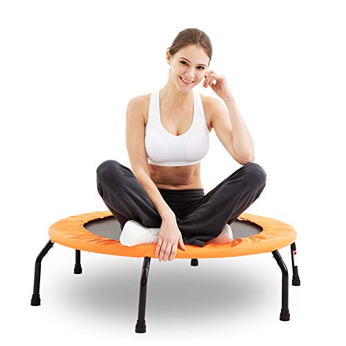 AXBC trampoline, springmat, oefening, fitness, vouwen, veiligheid, massieve valbescherming, leuning, antislip, stil, geschikt voor volwassenen/kinderen