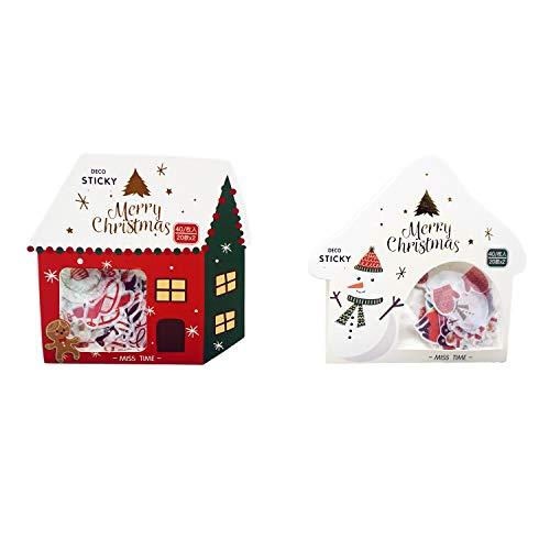 Weihnachts-Washi-Aufkleber-Bögen Waterea, 10,2 x 10,2 cm, 2 Bögen, insgesamt 80 Stück, für DIY, Geschenkverpackung, Dekoratives Basteln, Lesezeichen, Karten, Scrapbook und Geschenk Weihnachtshaus