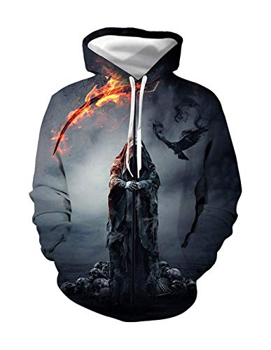 Halloween Men's Cool 3D Print Hoodie Grim Reaper Sweatshirt Fire Death Sickle Hooded Pullover Casual Sweater (1,M)