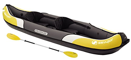 Sevylor Colorado Stable and Comfortable Inflatable Kayak with Paddle Ideal for Lakes or Sea Shores, Two Person