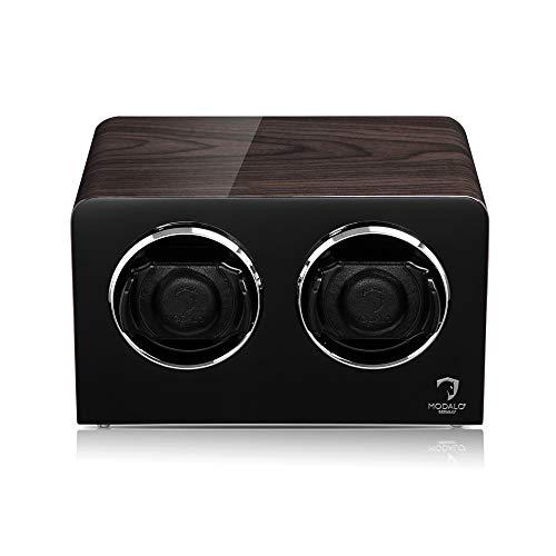 MODALO Uhrenbeweger (Watch Winder) Inspiration MV4 für 2 Uhren schwarzes Makassar-Holz Design