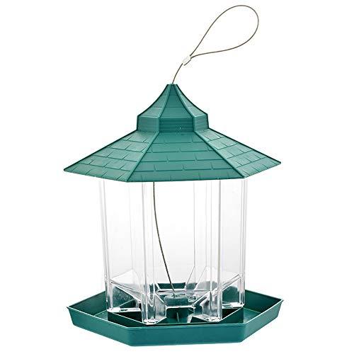 PopHMN Mangeoire à Oiseaux Suspendue Verte, Conteneur De Nourriture pour Oiseaux, Mangeoire étanche pour Graines De Noix pour Noix