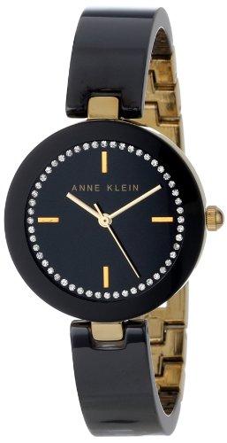 Anne Klein Women's AK/1314BKBK Premium Crystal Accented Gold-Tone Black Ceramic Bangle Watch