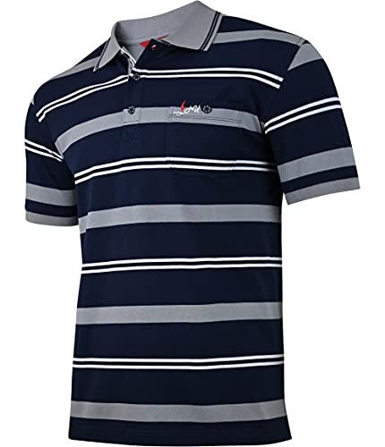 Humy Herren Polo Shirts Kurzarm mit Kragen Polohemd, Blousonshirts mit RV und Brusttaschen (M bis 3XL) (XL, [M2] Grau)