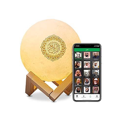 LWW Qur\'an Moon Lights 3D-Druck-Lampe, 7 Farben, LED-Nachtlicht, Koran, Bluetooth-Lautsprecher, Fernbedienung, kleine Mond-Lampe, kabelloser Koran-Lautsprecher