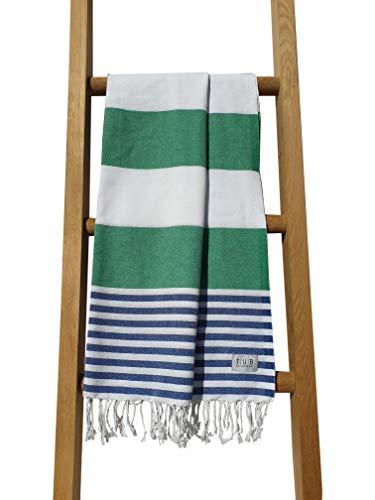 Hammam/Peshtemal Turkse handdoek door TUB. Extra groot. 100% katoen en 35% gerecycled garen. Lichtgewicht, compact, sneldrogend, stijlvol, veelzijdig voor spa, sportschool, reizen, vakantie 100cm x 180cm NIGHT BLUE & GREEN