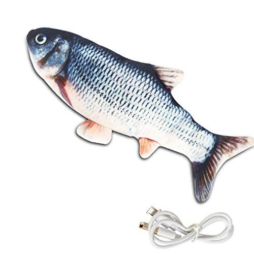 WXZQ Simulación de Pescado Columpio eléctrico Pez saltarín Simulación Carpa Hierba Carpa Mascota Gato Juguete USB Pez eléctrico Multicolor Carpa de Hierba