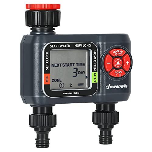 DEWENWILS Programador de riego con 2 salidas independientes, reloj de riego para jardín, frecuencia de riego flexible, impermeable, conector de 3/4 pulgadas, certificado CE