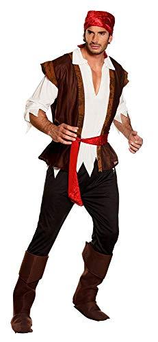 Boland 83532 - Erwachsenenkostüm Pirat mit Hose,Shirt,Weste,Stiefelstulpen und Gürtel, Größe 50 / 52