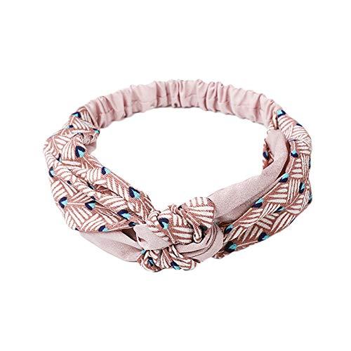Gysad Hoofdbanden Retro Streep Kruis Geknoopt Elastische Haarband Stretchy Hoofd Wrap voor Vrouwen Tieners Meisjes Haaraccessoires 50CM roze