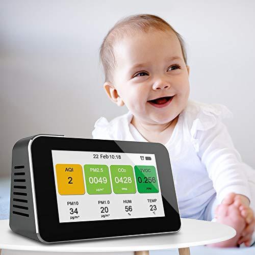 InLoveArts Luftqualität Monitor Temperatur CO2 Feuchtigkeitssensor Micro Staubdetektor 12 in 1 Formaldehyd-Analysegerät PM2.5 PM10 HCHO TVOC AQI Präzisionstester für ultrafeine Staubmessgeräte