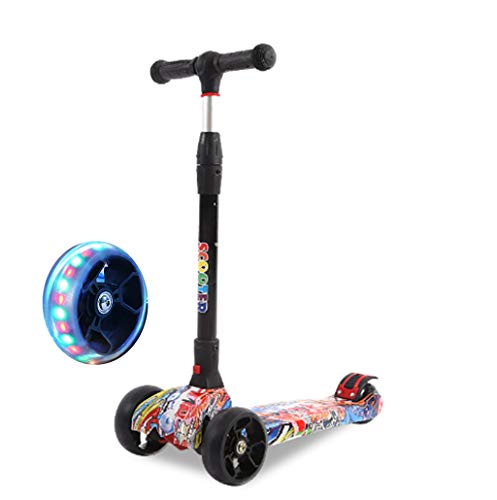 Jipemtra Scooters for Kids 3 Wheel T-bar Adjustable Riding Kick Scooters for Kids Height Adjustable LED PU Flashing with Graffiti Christmas Birthday Age 2~10 (Graffiti Colorful Foldable)