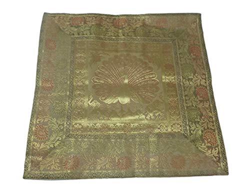 India colors. Cojín hindú (Satin Silk) Funda Bordado Artesanal Hecho a Mano en...