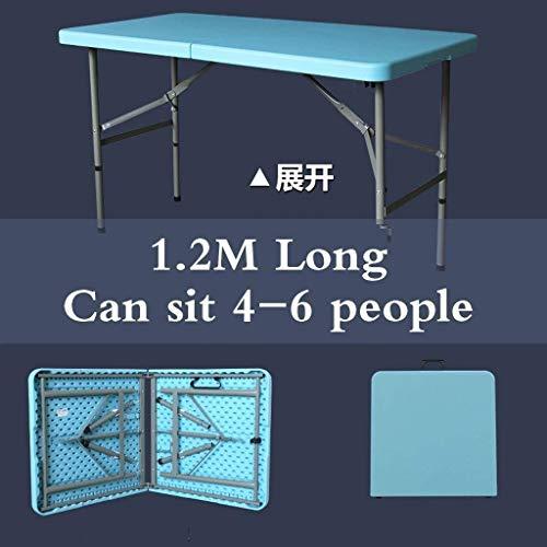 MotBach Mesa Plegable de plástico Pesada de 120 cm, tamaño Plegable es de 62 cm × 60 cm × 9cm Party Outdoor Garden Party Camping Barbacoa Preferida Mesa Plegable (Color : Blue)