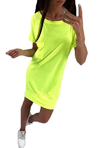 ZhiWanTing Damen Rundhals Kurzarm Rückenfreie Casual T Shirt Kleider mit Pockets Neon L