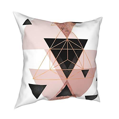 Fundas de almohada de triángulos geométricos, color oro rosa, blanco, 45,7 x 45,7 cm – impresión de doble cara, fundas de almohada cuadradas decorativas para sofá, cama, coche