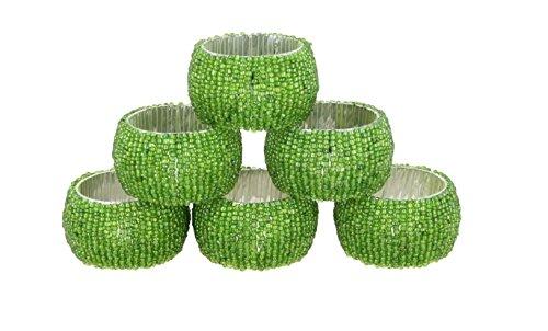 Shalinindia Beaded Napkin Rings - Set of 6 Rings -Green Napkin Rings Set -Diameter-1.5 Inch