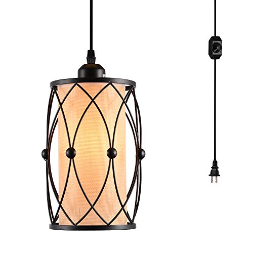 HMVPL Vintage Pendant Lighting Fixture with Plug in Hanging Cord and Dimmer...