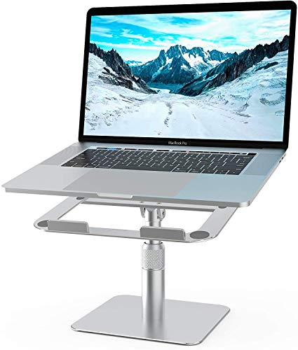 Adjustable Laptop Stand, Sllrieh Adjustable Height & Tilt , 360°Rotable Laptop Riser, Ergonomic Aluminum Notebook Stand for Desk , Compatible with MacBook Pro Air Dell HP XPS 10''- 17''Laptops, Silver