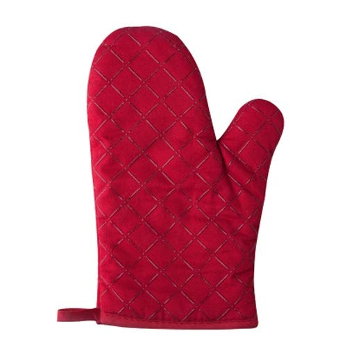 Yjdr Professionelle Hitzebeständige Mitt Baumwolle Topflappen mit Silikon Hitzebeständige Mikrowelle Handschuhe for Backen und Küche EIN Paar (Color : Rot, Größe : Two Packs)