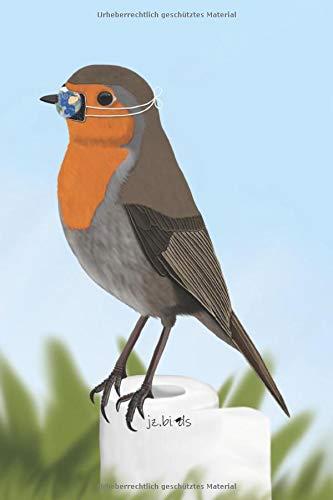 jz.birds Notizbuch A5 Rotkehlchen Vogel mit Mundschutz auf Klopapier Zeichnung 100 Seiten Schwarz&Weiß