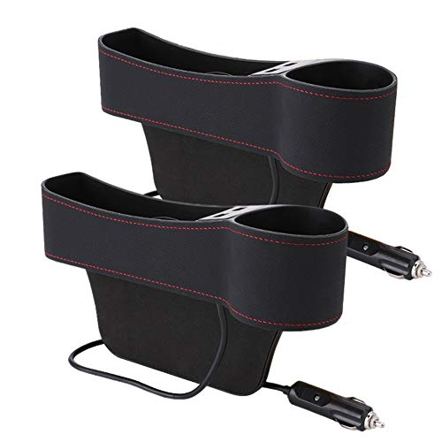 Buy Bargain lzndeal 1 Pair Car Seat Pockets Leather Car Console Side Organizer Filler Catch Bottle H...