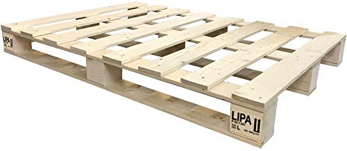 LIPA Palettenbett Bett Holz Massivholzbett 90 100 120 140 160 180 200 x 200cm, Palettenmöbel hergestellt in BRD (140x200)
