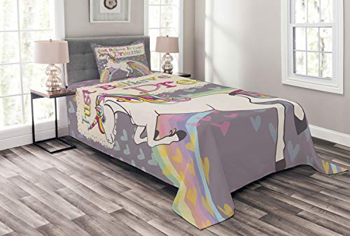 Ambesonne Feminine Bedspread, Unicorn with Believe in Your Dreams Words Illustration, Decorative Quilted 2 Piece Coverlet Set with Pillow Sham, Twin Size, Beige Lilac