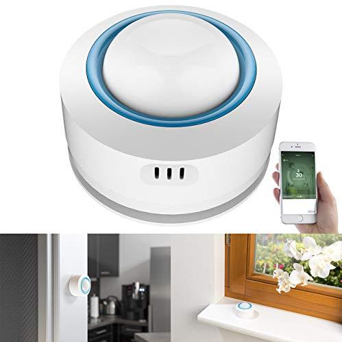 Luminea Home Control Smart Thermometer: WLAN-Temperatur- & Luftfeuchtigkeits-Sensor, 7-Tage-Datenspeicher, App (Temperaturfühler)