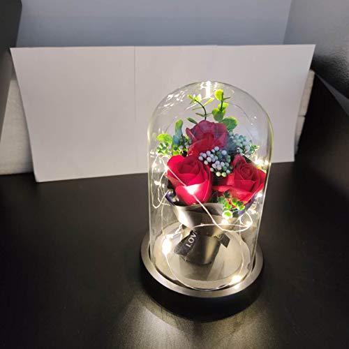 Rosa Bella y Bestia,Flor Bella y Bestia,Elegante Cúpula de Cristal con Base Pino Luces LED,Beauty and Regalos Magicos Decoración para Día de San Valentín Aniversario Bodas
