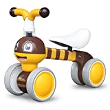 Baby Balance Bikes 10-36 Month Children Walker | Toys for 1 Year Old Boys Girls | No Pedal Infant 4 Wheels Toddler Bicycle | Best First Birthday New Year Holiday (Bee)